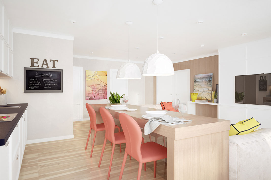decorate the house with coral color palette and combinations